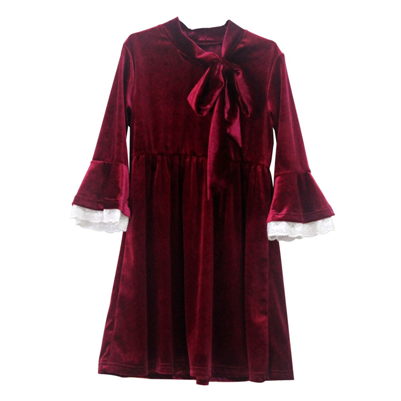 c4f2949ce1 kids   teenager girls three quarter flare sleeve lace trim bow velour dress  children fashion fall spring princess velvet dresses