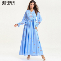 SuperAen Pluz Size Women's Long Dress Spring New 2019 Fashion Embroidery Ladies Dress Long sleeved Lace Europe Women Clothing