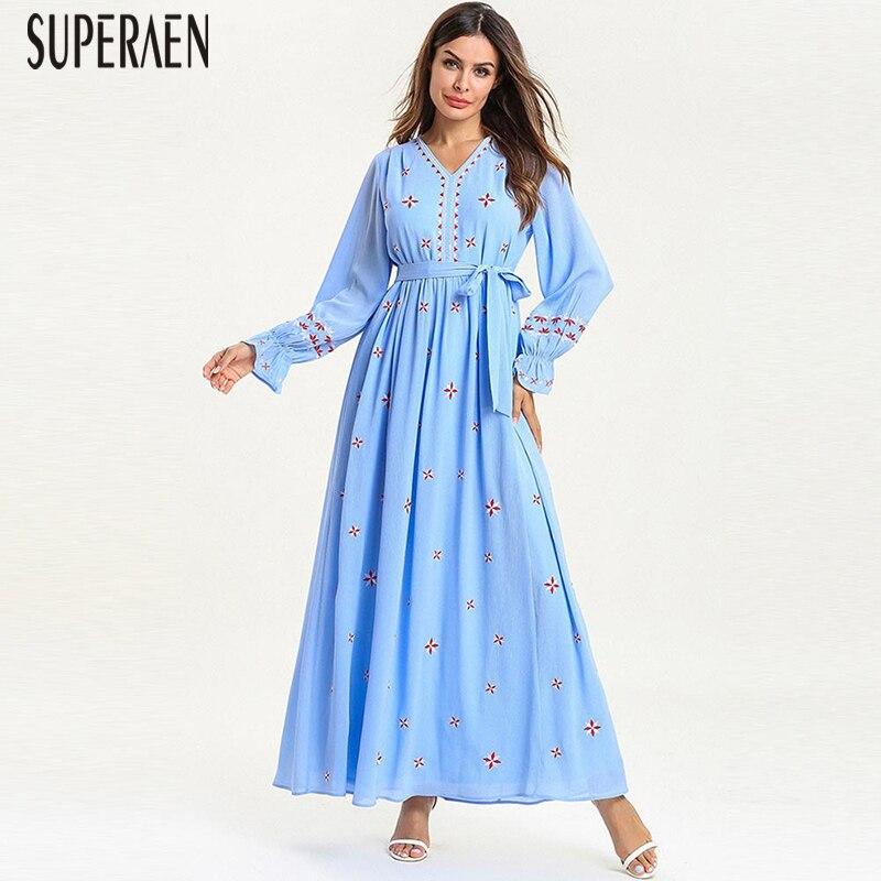 SuperAen Pluz taille femmes longue robe printemps nouveau 2019 mode broderie dames robe à manches longues dentelle Europe femmes vêtements