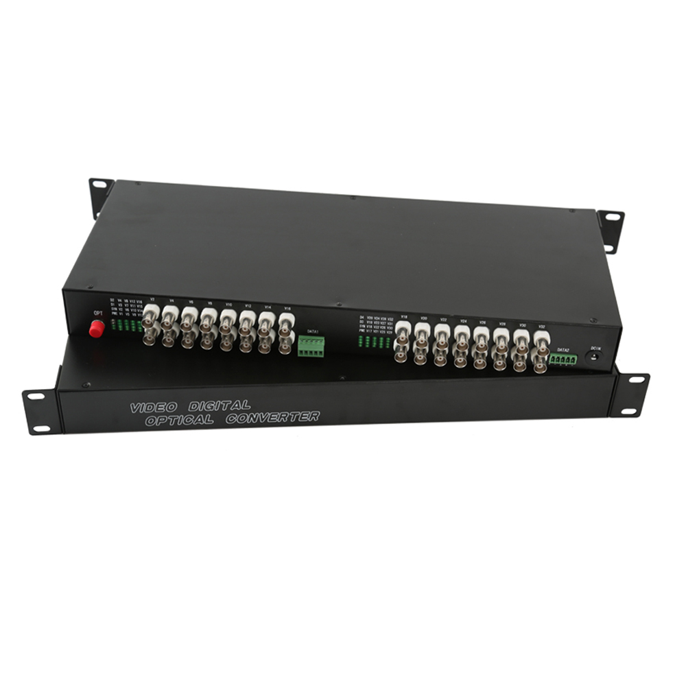 32 CH Video Fiber Optical Media Converters -32 BNC Transmitter Receiver RS485 Data Single mode 20Km For CCTV Surveillance system