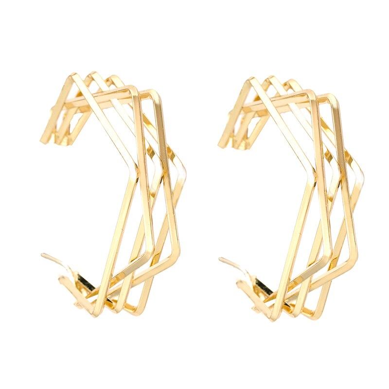 Flashbuy Simple Geometric Gold Hoop Earrings For Women Exaggeration Earings Big Circle Trend Accessories pendientes Earrings