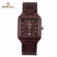 BEWELL Cool Men Natural Wooden Quartz Watch Aquare Shape Wristwatch Casual Wood Wristwatches Hot Sale