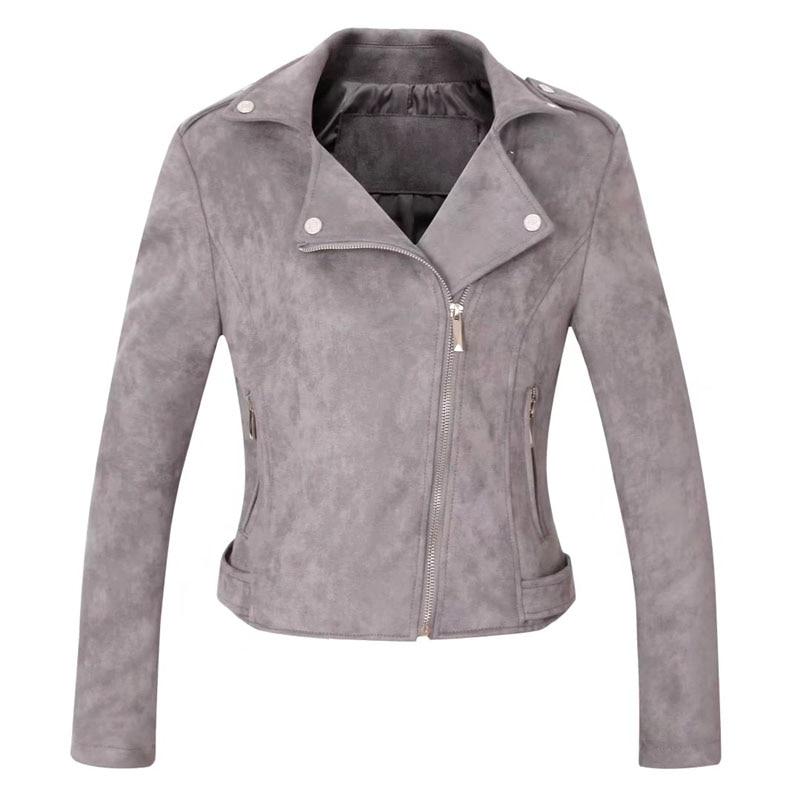 autumn basic   suede   faux   leather   jacket Women zipper moto jacket Cool streetwear winter ladies'   leather   jackets short coat