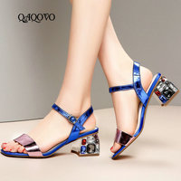 Women Shoes Summer Genuine Leather Sandals Fashion Crystal Square High Heels Party Women Shoes High Quality Shoes Blue Silver