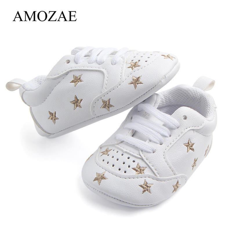 Newborn Baby Shoes Star Print First Walkers Baby PU Leather Soft Soled Infant Toddler Boys Girls Sneakers Prewalker Footwear