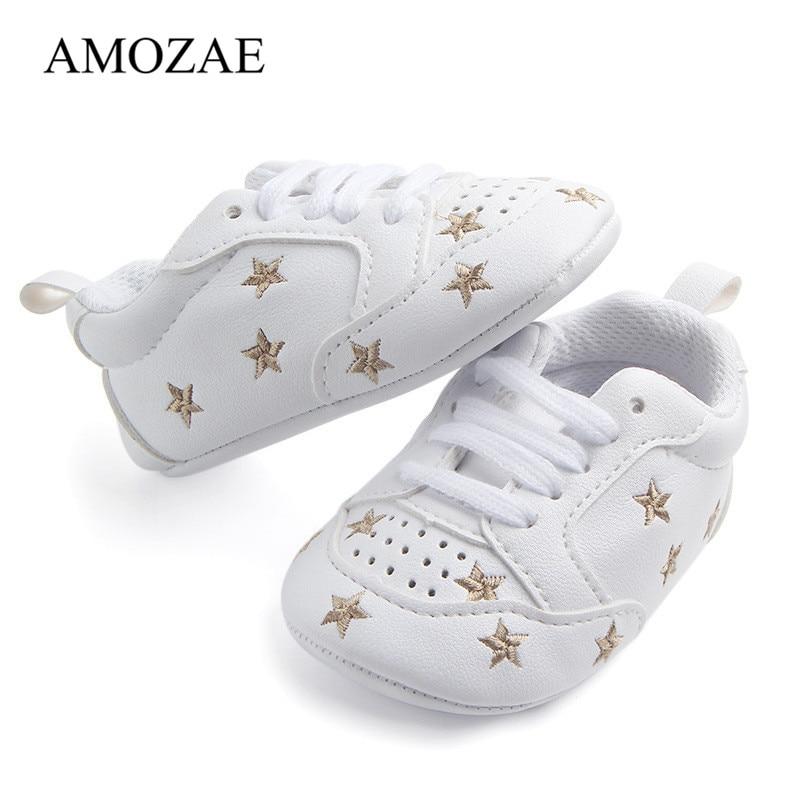 Newborn Baby Shoes Star Print First Walkers Baby PU Leather Soft Soled Infant Toddler Boys Girls Sneakers Prewalker Footwear