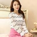 New Korean Women lace shirt Elegant Slim embroidered long-sleeved Women shirts Fashion Casual Blouse plus size women tops