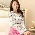 Novas Mulheres Coreanas camisa de renda Elegante Fino bordado longo-sleeved camisas Das Mulheres Moda Casual Blusa plus size mulheres tops