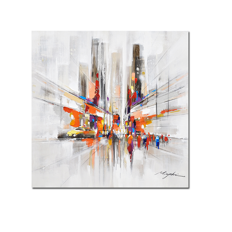 New York City Picture Canvas Painting Modern Wall Art: City Downtown New York Urban Streets Modern Picture Hand