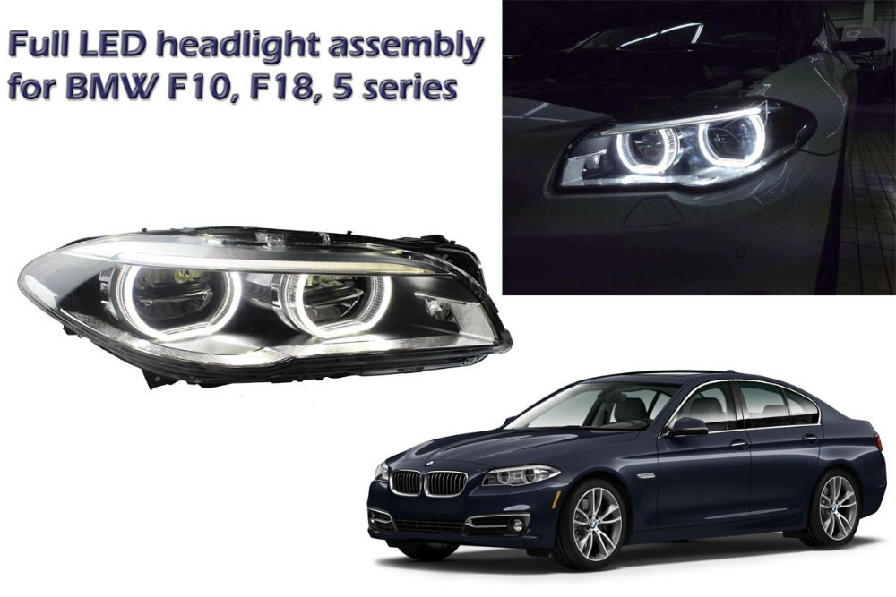 For BMW F10, F18, 5 series full LED headlight assembly with light guide LED angel eyes and LED eye brows for retrofit styling makeup brushes