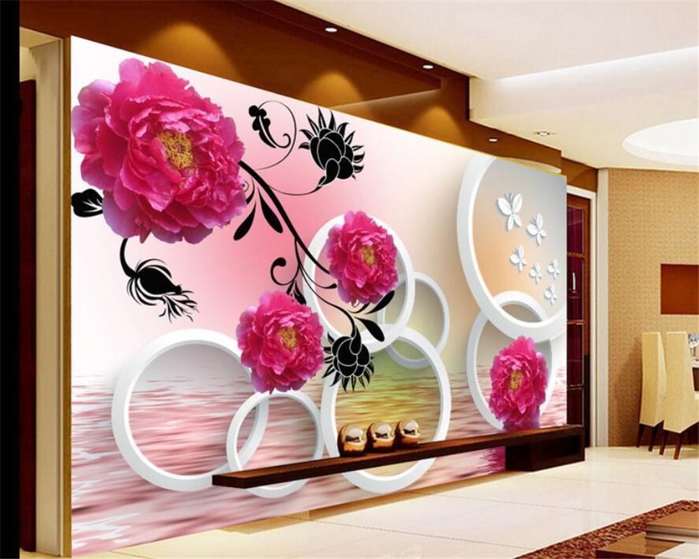 beibehang papel de parede Custom Photo 3d wallpaper Rose butterfly reflection 3D stereo circle TV Background wall 3d wallpaper