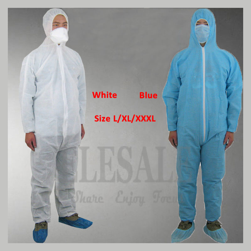 1Pcs Disposable White/Blue Overall Protective Coverall