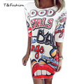 Tinderala 2016 Summer Dresses Lips Good Girl Letter Print Slim Party Dresses Personality Sexy Dress Free Shipping Vestidos Robes