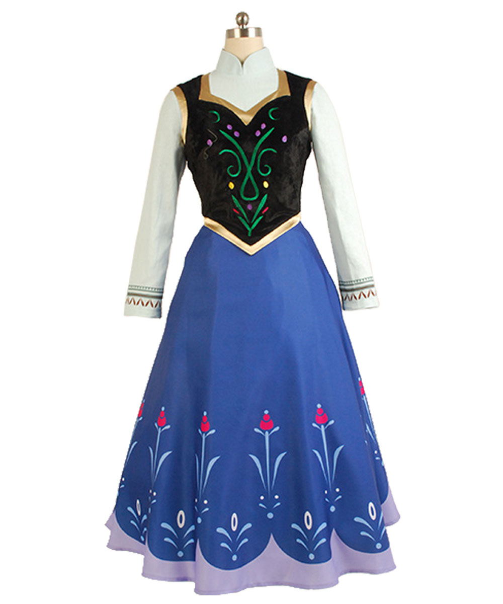 Movie Elsa Princess Anna Dress Costume Without Cloak Anna Cosplay Costume Halloween Carnival Costume Full Sets