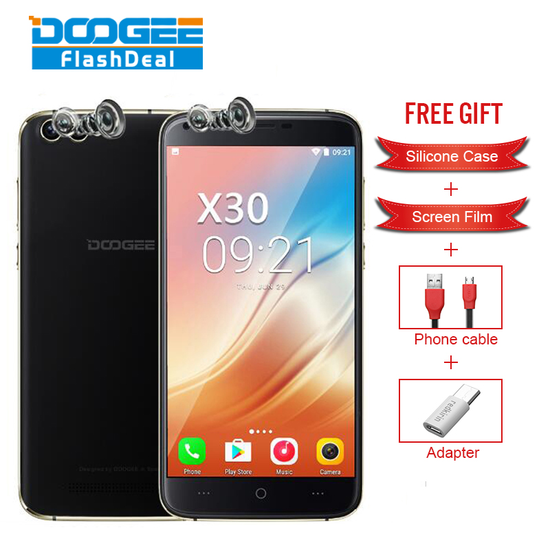 DOOGEE X30 5.5 Inch Dual Front&Rear Cameras 2GB RAM 16GB ROM MT6580A Octa-Core 1.3GHz 3G Dual SIM Card Dual Standby Smartphone