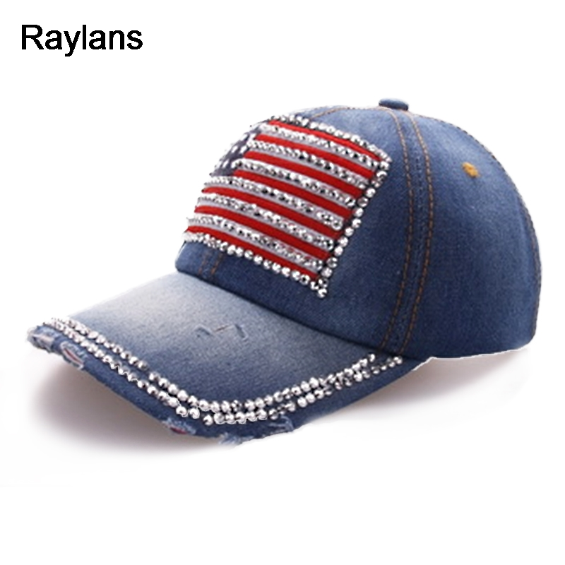 f1453a1ca US $2.49 |Raylans Stylish Womens Men's Denim Rhinestone American Flag  Baseball Cap Adjustable Hats-in Baseball Caps from Apparel Accessories on  ...