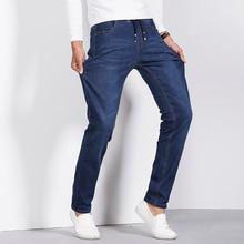 jeans men 2016 winter new casual slim fit denim jeans straight stretch cotton elastic waist pants