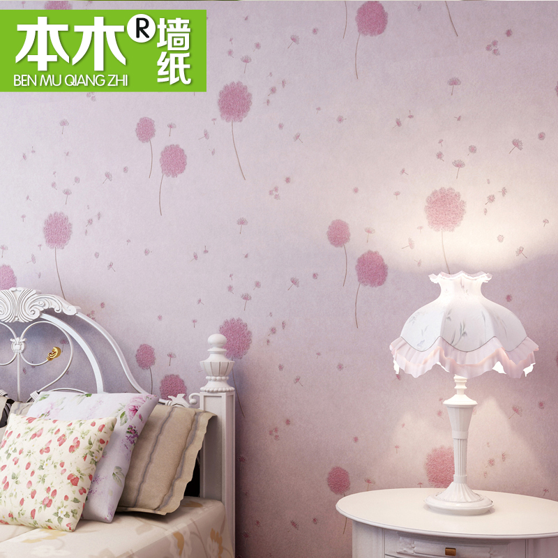 new selling 2016 rural non-woven wall paper marriage room pink bedroom romantic warmth dandelion bedside background wallpaper