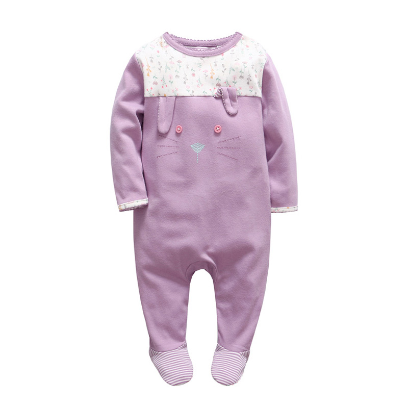 2018 Newborn tender Babies girls clothes christmas baby   rompers   Floral baby overalls winter foot ie cartoon rabbit baby jumpsuit