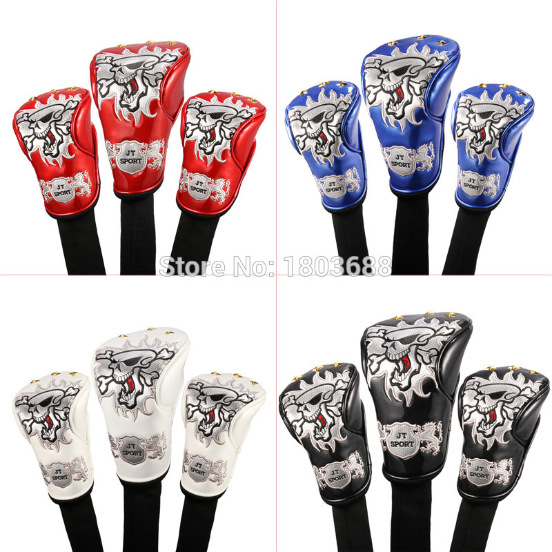 Baru 4Colors Skull Head Golf cover Headcover for Driver 3 # Fairway Wood 5 # Fairway Wood Golden Spots brand universal