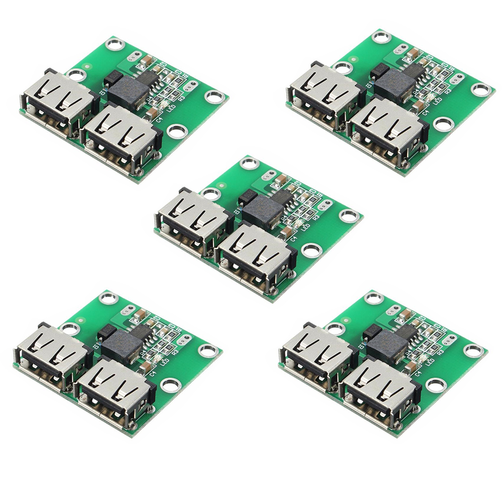 5PCS DC-DC Step Down Charger Power Module Dual USB Output Buck Voltage Board 9V 12V 24V To 5V 3A Car Charge Charging Regulator
