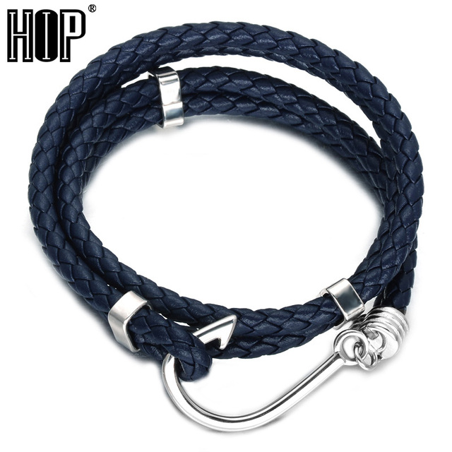 Hip Double Layer Fish Hooks Men Charm Bracelet Blue Rope Chain Stainless Steel Bracelets