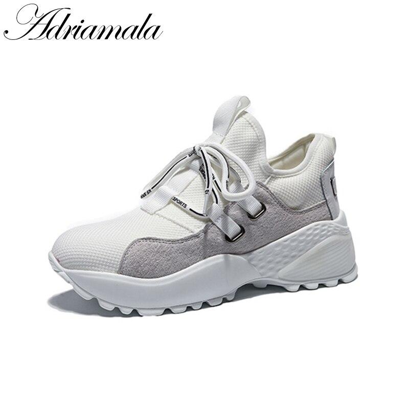 2018 Round Toe Fashion Casual Women Sneaker Brand Designer Spring Summer Lace Up Flat Platform Ladies Shoes Adriamala