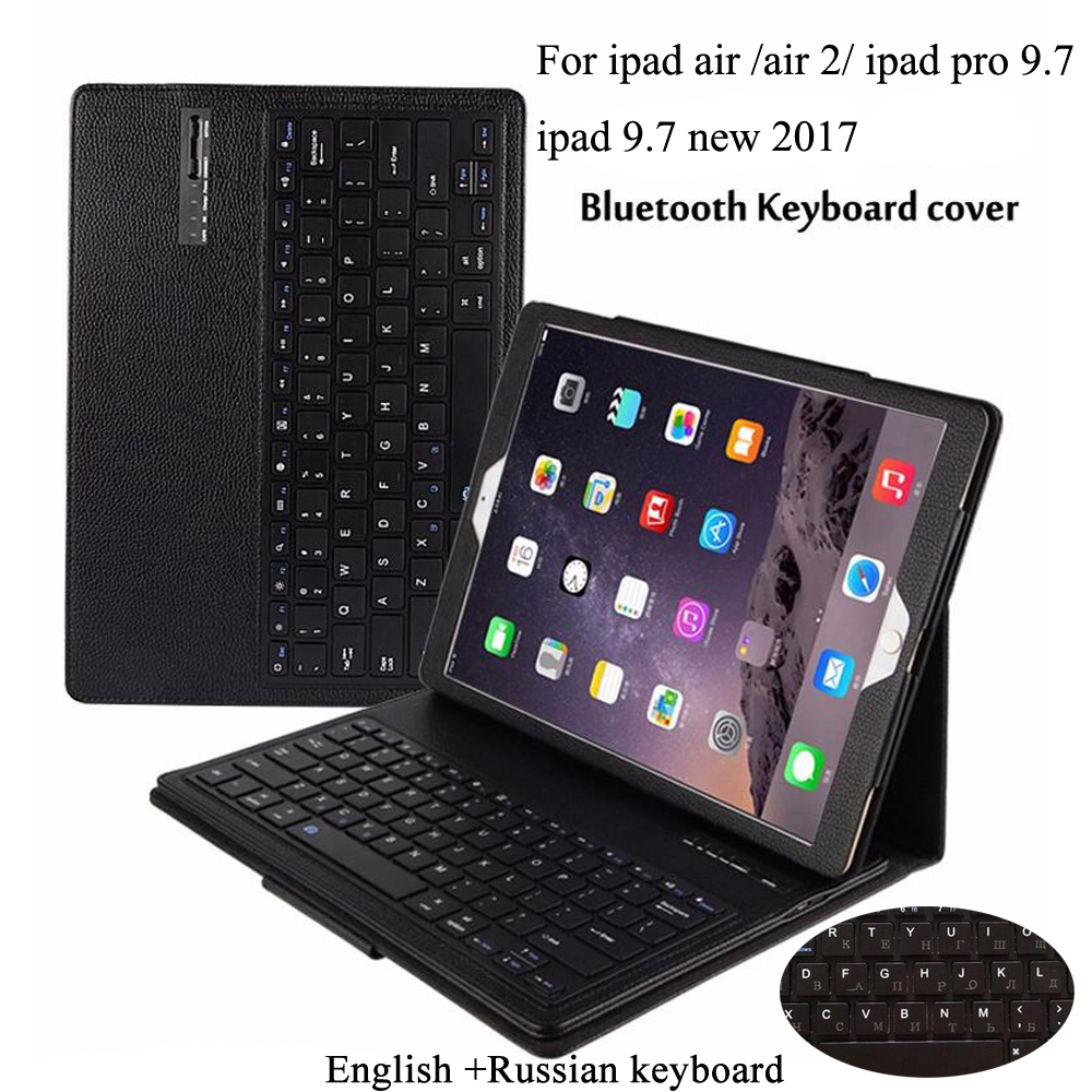 Wireless Bluetooth Russian Keyboard Leather Cover Protective Case For New Ipad 9.7 2017 Air / Air 2 /Pro 9.7 Case+Gift