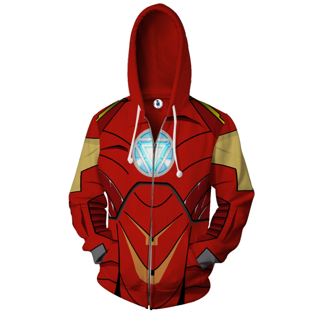2018 New Autumn Winter Iron Man Zip Up Hoodie Men Women 3d Sportswear Tracksuit Harajuku Clothing Jacket Clothing