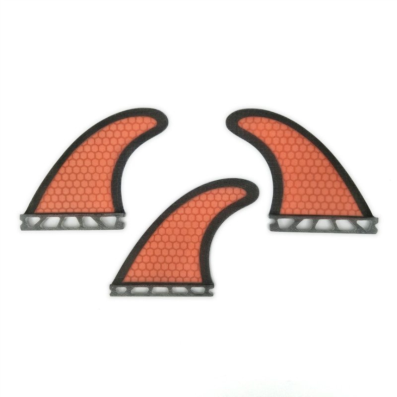 Future G5 Fin 3 pieces per set Fibreglass Honeycomb orange color black-bordered ...