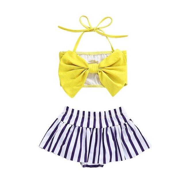 6bcb85801 Children Swimsuit 2Pcs Swimsuit Set Briefs Baby Stripe Girls Girl Summer  Tops Kid Straps Infant Swimwear