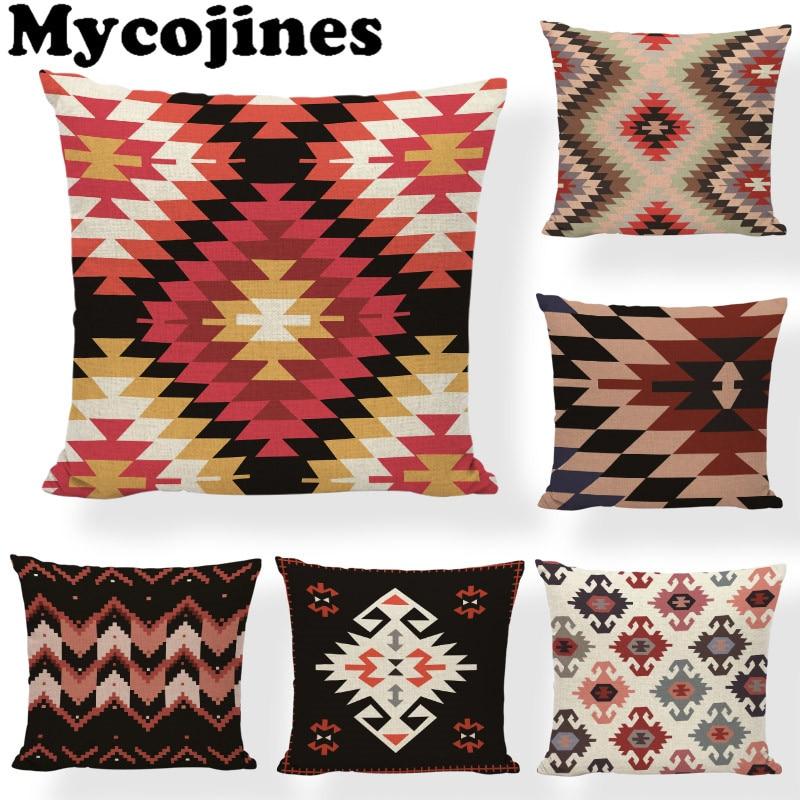 hot sale colorful aztec cushion covers geometric print tribal prints abstract rainbow ethnic plaid decor sofa throw pillow cases
