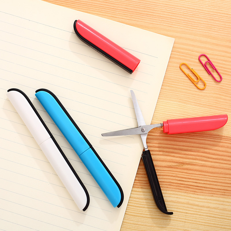 Deli Mini Kawaii Folding Utility Safety Scissors Paper Cutter Student Pocket Cut Tools Stationery Store School Office Supplies