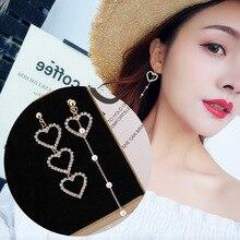 New Korean Heart-Shaped Asymmetrical Diamond-Inserted Earrings Welded Metal Spot Drill Fashion Jewelry