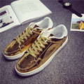 Men Casual Shoes Mirror Surface Glossy Men Flat Shoes Gold Silver Height Increasing Shoes Tenis Chaussure Homme
