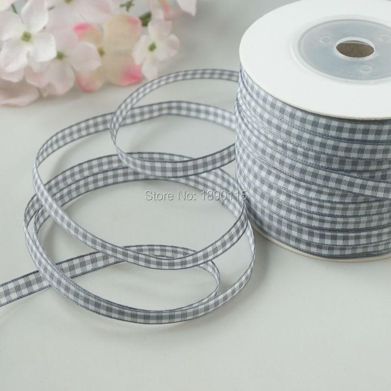 TALA 100meters roll 1 4 font b Tartan b font Plaid Ribbon Polyester Scottish Ribbons Grey