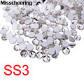 SS3 Nail Rhinestones,1440pcs/lot Clear Crystal Flat Back Non Hotfix Glitter Nail Clothing Accessories,3d Nail Art Decorations