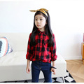 2017 Autumn & Winter Fashion Plaid Shirts for Girls Casual Cotton Kids Blouses Turn-down Collar Blouse for Girls In School ss024