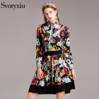 2017 Autumn The Newest Women S Skirt Suit High Quality Long Sleeves Flower Floral Printed Pleated