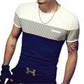 Novo 2017 Moda Verão T Camisa de Algodão de Manga Curta T Camisas dos homens homens T-Shirt Stripe Casual Slim Fit Men Top Tees Camisa 4XL 5XL