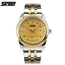 SKMEI модные мужские кварцевые часы водонепроницаемые полосы контракт бизнес личность Британский ветер алмазов наручные часы