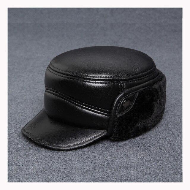 100% cuero genuino de la zalea de los hombres snapback al aire libre de invierno bombardero sombrero ancianos sólido caliente cúpula oído gorra de béisbol al por mayor