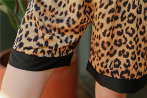 Image 5 - Daeyard ผ้าไหมซาตินชุดนอนเซ็กซี่เสือดาวปุ่มแขนสั้นเสื้อกางเกงขาสั้น 2Pcs ชุดนอน Sleep Lounge ชุดนอน