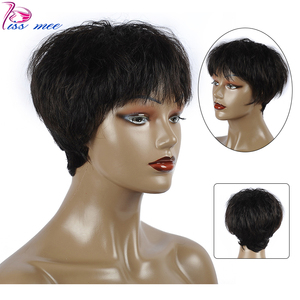 KISSMEE Short Straight Bob Human Hair Wigs 6 Inches #1B Human Hair Short pixie cut Wig For Black Women Brazilian Hair Remy Hair