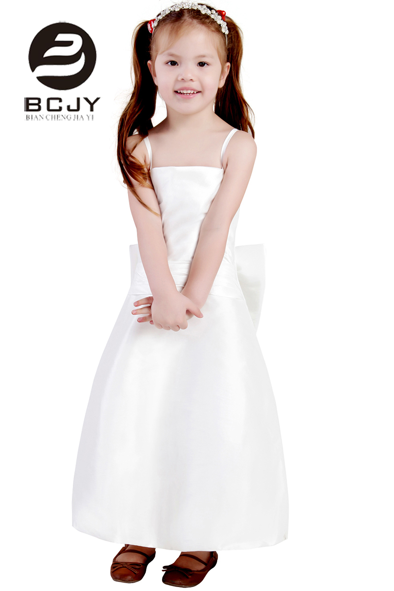 Cute 2019 tulle white bow baby Spagheti Straps   Flower     Girl     Dress   A Line Birthday evening prom cloth party   dress   with sashes
