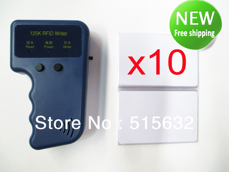 где купить English edition RFID Reader Writer 125KHz ID Card Keyfob duplicator Duplicate/Copy Door System with 10 EM4305 125Khz ID card дешево