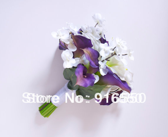 Purple calla lily and white orchid bridal bouquet with white calla purple calla lily and white orchid bridal bouquet with white calla lilies real touch wedding mightylinksfo