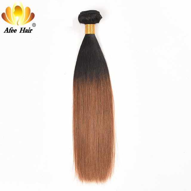 AliAfee Hair Brazilian Straight Hair #1B,#2, T1B/27 Ombre Human Hair Bundles 1 PC Non Remy Hair Extension Can Buy 3 Bundles Deal