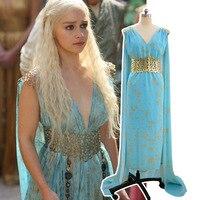 Free Shipping Game Of Thrones Cosplay Daenerys Targaryen Wedding Dress Costume Halloween Party Long Blue
