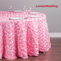 Diameter 94 Luxurious round rose embroidery table linens Wedding Table decoration 5pcs/lot/Round Rosette Satin Tablecloth